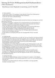 Satzung der Freien Wählergemeinschaft ... - FWG Hochtaunus