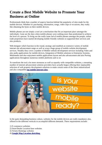 Create a Best Mobile Website to Promote Your Business at Online