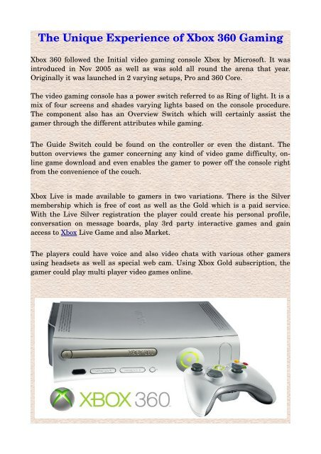 The Unique Experience Of Xbox 360 Gaming