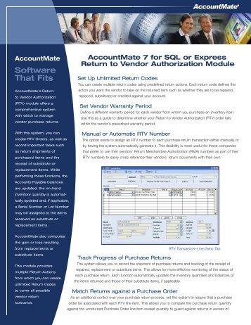 Return to Vendor Authorization - AccountMate Software