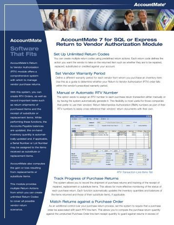 Return to Vendor Authorization - AccountMate Software