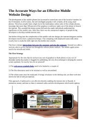The Accurate Ways for an Effective Mobile Website Design