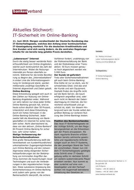 Aktuelles Stichwort: IT-Sicherheit im Online-Banking