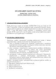STANDARDY KSZTAŁCENIA - Stary serwis Wydziału Leśnego SGGW
