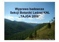 Jowita Wach Wyprawa badawcza Sekcji Botaniki Leśnej KNL