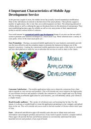 4 Important Characteristics of Mobile App Development Service