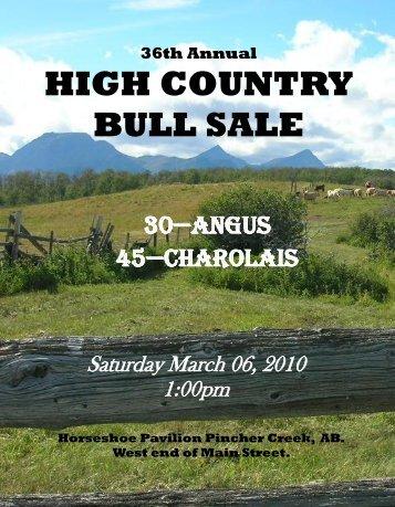 36th Annual HIGH COUNTRY BULL SALE - Charolais Banner