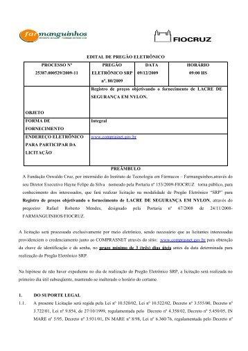 EDITAL DE PREGÃO ELETRÔNICO PROCESSO Nº 25387.000529 ...