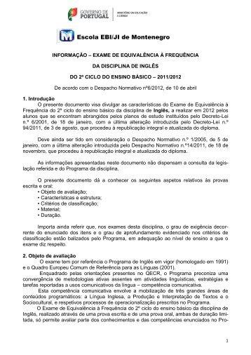 Escola EBI/JI de Montenegro - Agrupamento de Escolas do ...