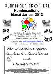Kundenzeitung Monat Januar 2012 - Plantagen Apotheke