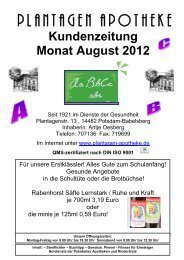 Kundenzeitung Monat August 2012 - Plantagen Apotheke