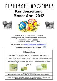 Kundenzeitung Monat April 2012 - Plantagen Apotheke