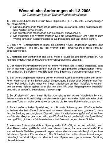 Wesentliche Änderungen ab 1.8.2005
