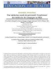 l'expérience des médecins de campagne au Mali - Health Systems ...