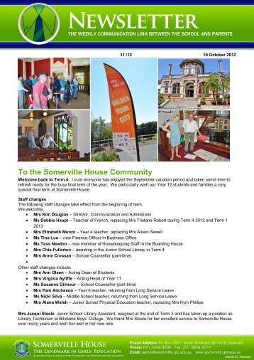 To the Somerville House Community 03/1