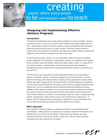 Designing and Implementing Effective Advisory Programs