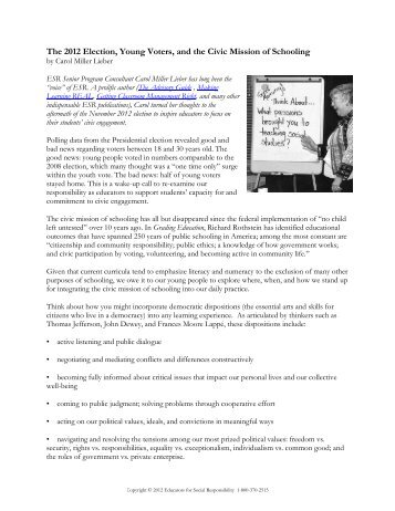 The 2012 Election, Young Voters, and the Civic Mission of Schooling