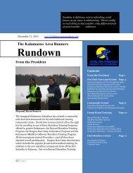 Rundownwsletter Title - Kalamazoo Area Runners