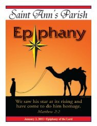 January 2, 2011 • Epiphany of the Lord - St. Ann's School