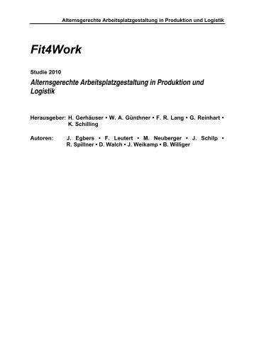 Alternsgerechte Arbeitsplatzgestaltung in Produktion und Logistik
