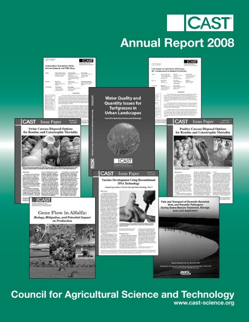 Annual Report 2008 - Council for Agricultural Science and Technology
