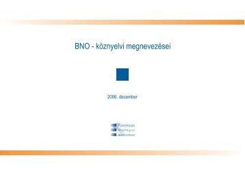 BNO - köznyelvi megnevezései - ESKI