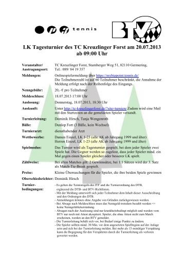 Ausschreibung (pdf) - Tennisclub TC Kreuzlinger Forst