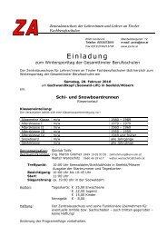 Einladung Schitag - ZA für Lehrer/innen an Tiroler Fachberufsschulen