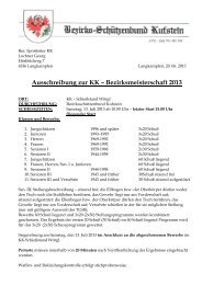 Ausschreibung zur KK – Bezirksmeisterschaft 2013