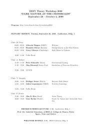 Plenary Sessions - DESY Theory workshop 2008