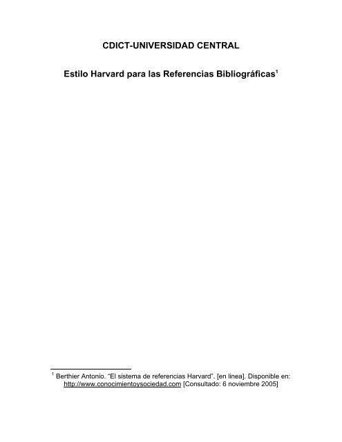CDICT-UNIVERSIDAD CENTRAL Estilo Harvard para las Referencias Bibliográficas