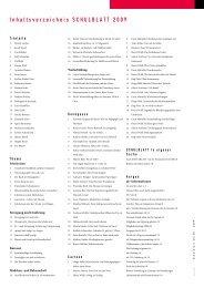 Inhaltsverzeichnis SCHULBLATT 2009 - alv