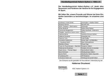 TuS Ferndorf - HSC Haltern-Sythen 1992 e. V.