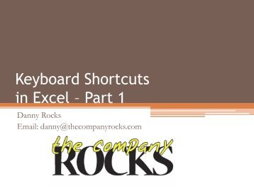 Keyboard Shortcuts in Excel Part 1 - The Company Rocks