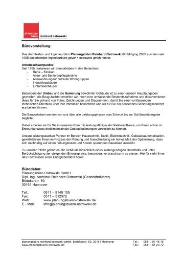 Bürovorstellung: Bürodaten: - planungsbüro reinhard ostrowski