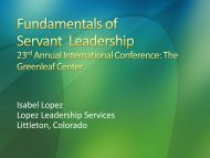 Fundamentals of Servant Leadership - Greenleaf Center for Servant ...