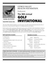 GOLF INVITATIONAL - Citrus Valley Health Foundation
