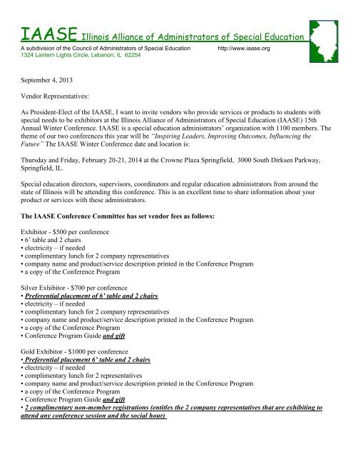 Exhibitor Invitation Letter For The Iaase Winter Conference