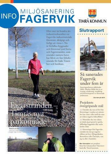 Nyhetsbrev Miljösanering Fagervik slutrapport 2012 - Timrå kommun