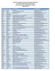 List of Attendees - Greenleaf Center for Servant Leadership