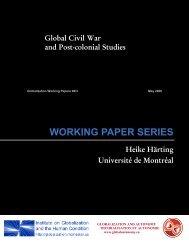 Global Civil War and Post-colonial Studies - McMaster University