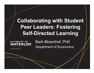 Collaborating with Student Peer Leaders: Fostering Self-Directed ...