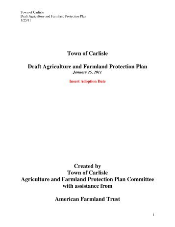 Town of Carlisle Draft Agriculture and Farmland ... - Schoharie County