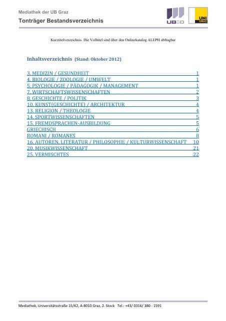 Tontrager Bestandsverzeichnis Karl Franzens Universitat Graz