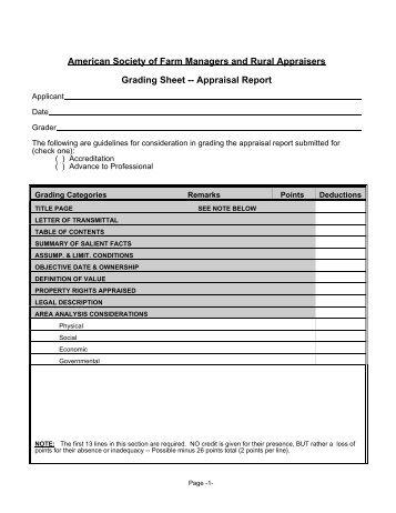 Demo Report Grading Sheet - ASFMRA