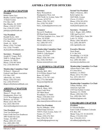 Chapter Officer List - ASFMRA