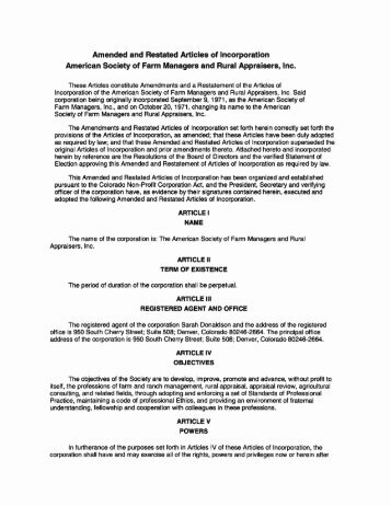 Amended and Restated Articles of Incorporation ... - ASFMRA