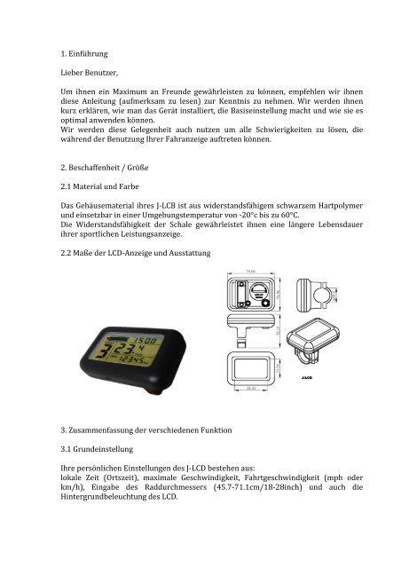 mode d'emploi computeur e-bike CILO allemand - Athleticum