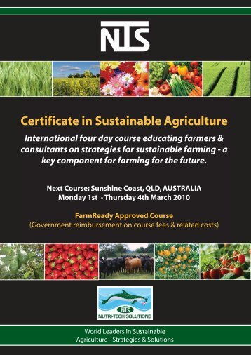 NTS Certificate in Sustainable Agriculture - WildFlowers Australia