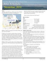Hike Schedule: November, 2010 - Blue Mountains Bruce Trail Club